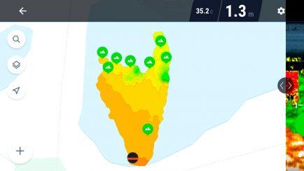 rybářský echolot umožňuje tvorbu batymetrických nao